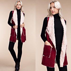 Wine Red & Pink Shearling Fur Longline Vest